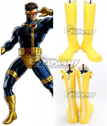 Marvel Comics X-Men Cyclops Scott Summers Yellow Shoes Cosplay Boots
