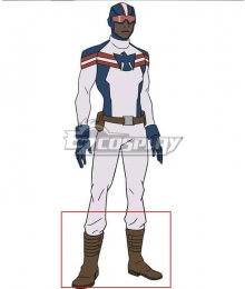 Marvel Rising: Secret Warriors Patriot Elijah Eli Bradley Brown Shoes Cosplay Boots