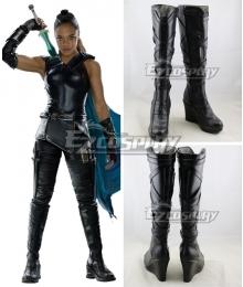 Marvel Thor 3 Ragnarok Trailer Valkyrie Black Shoes Cosplay Boots