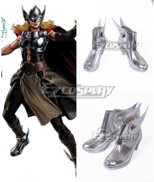 Marvel Thor Jane Foster Silver Cosplay Shoes