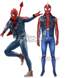 Marvel Video Game PS4 Spider Man Peter Parker Punk Rock SpiderMan Spider-Man Spandex Zentai Jumpsuit Cosplay Costume