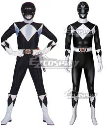 Mighty Morphin Power Rangers Black Ranger Zentai Jumpsuit Cosplay Costume