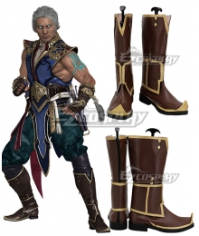 Mortal Kombat 11 Aftermath God Of Wind Fujin Brown Shoes Cosplay Boots
