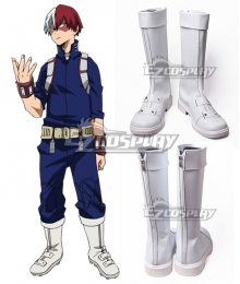 My Hero Academia Boku No Hero Akademia Shoto Todoroki White Hero Shoes Cosplay Boots