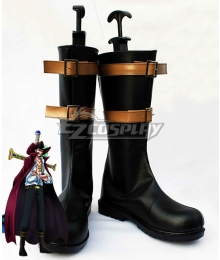 One Piece Dracule Mihawk Black Golden Shoes Cosplay Boots