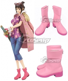 One Piece Tashigi Pink Shoes Cosplay Boots