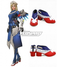 Overwatch OW Combat Medic Mercy Angela Ziegler Blue White Red Cosplay Shoes