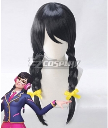 Overwatch OW Dva Hana Song Academy D․Va Black Cosplay Wig
