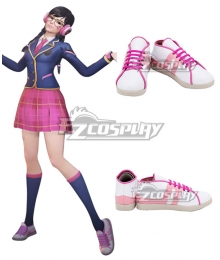 Overwatch OW Dva Hana Song Academy D․Va White Pink Cosplay Shoes