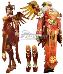 Overwatch OW Red Phoenix Skin Mercy Angela Ziegler Cosplay Costume - Including Wings And Boots