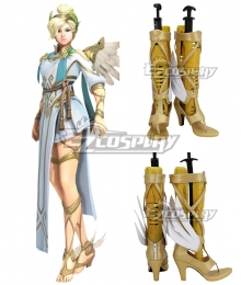 Overwatch OW Summer Games 2017 Winged Victory Mercy Skin Golden Shoes Cosplay Boots
