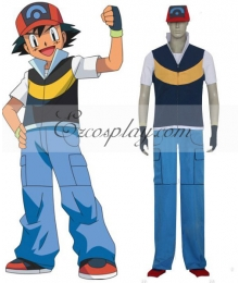 Pokemon Pocket Monster Ash Ketchum Cosplay Costume