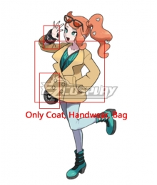 Pokemon Sword And Pokemon Shield Sonia Cosplay Costume - Only Coat, Handwear, Bag