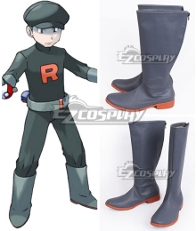 Pokemon Team Rocket Grunt Male Grey Shoes Cosplay Boots