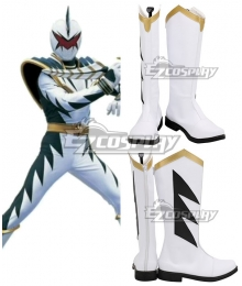 Power Rangers Dino Thunder White Dino Ranger White Shoes Cosplay Boots