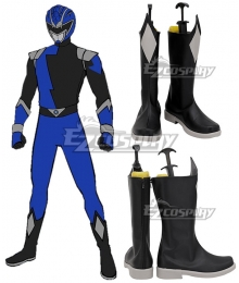 Power Rangers HyperForce HyperForce Blue Black Shoes Cosplay Boots