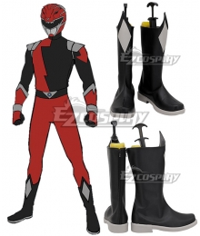 Power Rangers HyperForce HyperForce Red Black Shoes Cosplay Boots