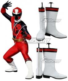 Power Rangers Ninja Steel Ninja Steel Red White Shoes Cosplay Boots
