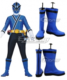 Power Rangers Samurai Blue Samurai Ranger Blue Shoes Cosplay Boots