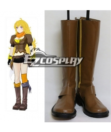 RWBY Yellow Yang Xiao Long Flat Brown Shoes Cosplay Boots
