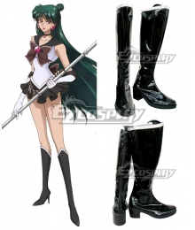 Sailor Moon Meiou Setsuna Sailor Pluto Black Shoes Cosplay Boots
