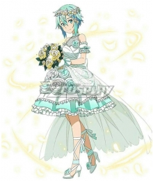 SAO Sword Art Online: Memory Defrag Clairvoyant Integrity Knight Sinon Asada Shino Wedding Dress Cosplay Costume