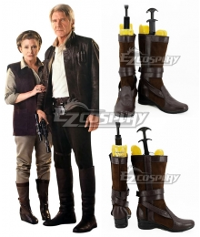 Star Wars Episode 7 The Force Awakens General Leia Organa Brown Shoes Cosplay Boots