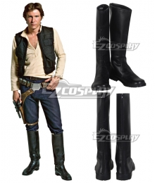 Star Wars Han Solo Black Shoes Cosplay Boots