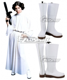 Star Wars Princess Leia Organa Solo White Shoes Cosplay Boots