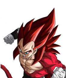 Super Dragon Ball Heroes Vegeta SSJ4 Xeno Limit Breaker Red Cosplay Wig