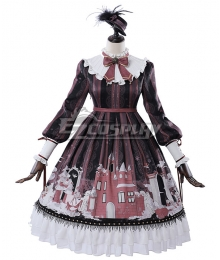 Sweet Lolita OP Snow Country Girl Black Wine Burgendy Long Sleeve One Piece Lolita Dress