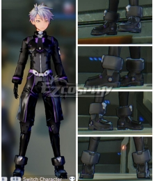 Sword Art Online: Fatal Bullet Male Protagonist Black Purple Skin Cosplay Shoes