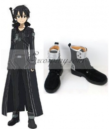 Sword Art Online SAO Sodo Ato Onrain Dull Polish Kirigaya Kazuto Kirito Flat Shoes Black And Silver Cosplay Shoes