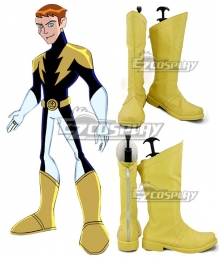 The Legion of Superheroes Lightning Lad Yellow Shoes Cosplay Boots