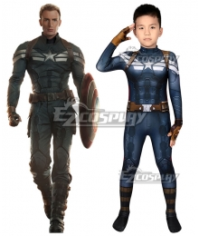 Kids Marvel Captain America The Winter Soldier Steven Rogers Zentai Jumpsuit Cosplay Costume