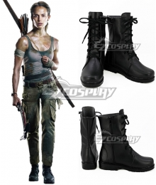 Tomb Raider 2018 Movie Lara Croft Black Shoes Cosplay Boots