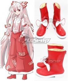 Touhou Project Fujiwara No Mokou Red White Shoes Cosplay Boots
