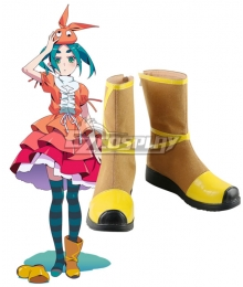 Tsukimonogatari Possession Story Ononoki Yotsugi Brown Shoes Cosplay Boots