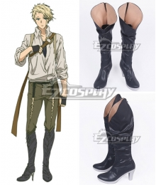 Violet Evergarden Benedict Blue Black Shoes Cosplay Boots