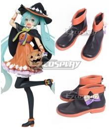 Vocaloid Hatsune Miku 2nd Season Halloween Ver. Black Orange Cosplay Shoes