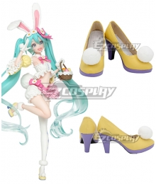 Vocaloid Hatsune Miku Rabbit Version Yellow Purple Cosplay Shoes