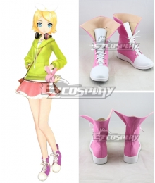 Vocaloid Melancholic Kagamine Rin Pink Cosplay Shoes