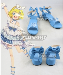 Vocaloid Snow Miku 2019 10th Anniversary Kagamine Rin Blue Cosplay Shoes