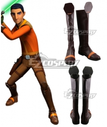 Wookieepedia the Star Wars season 4 Ezra Bridger Brown Shoes Cosplay Boots