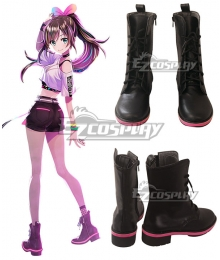YouTuber Kizuna AI A.I.Channel Black Shoes Cosplay Boots