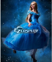Cinderella 2015 Film Princess Cinderella Ella Party Dress Cosplay Costume - A Edition