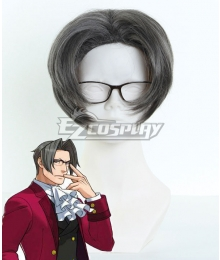 Ace Attorney Gyakuten Saiban Miles Edgeworth Gray Cosplay Wig 407B