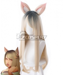 League Of Legends LOL K/DA Ahri MV Edition Gradient Black Yellow Cosplay Wig - Including Ears - 458AA