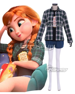 Disney Ralph Breaks The Internet: Wreck-It Ralph 2 Princess Anna Pajamas Cosplay Costume