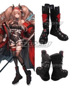 Arknights Angelina Visitor of Factor Black Shoes Cosplay Boots